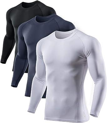3 Pack Mens Compression Shirt Long Sleeve Workout Undershirt Athletic Performance Baselayer Shirts