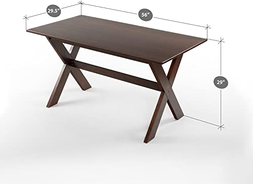 Zinus William Trestle Large Wood Dining Table Espresso