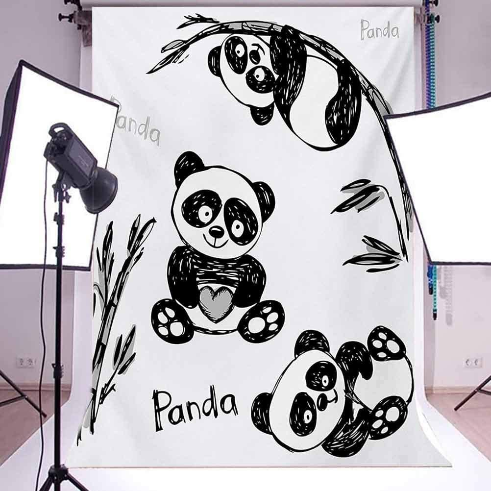 Panda 10x15 FT Photography Backdrop Cheerful Panda Different Poses with Bamboo Branch Children Painting Artful Print Background for Photography Kids Adult Photo Booth Video Shoot Vinyl Studio Props