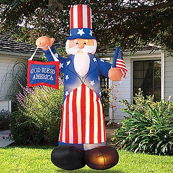 Beautiful Giant Airblown Uncle Sam Yard Decoration   Inflatable July 4th Lawn Decor