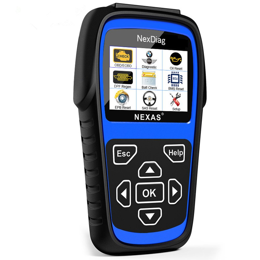 Diagnostic Scanner NEXAS ND601 Diagnose ABS / SRS / EPB Fault Codes Reader, Reset SAS / Oil Service Light Multi-System OBD2 Scan Tool with DPF Regen and Battery Registration for BMW Mini