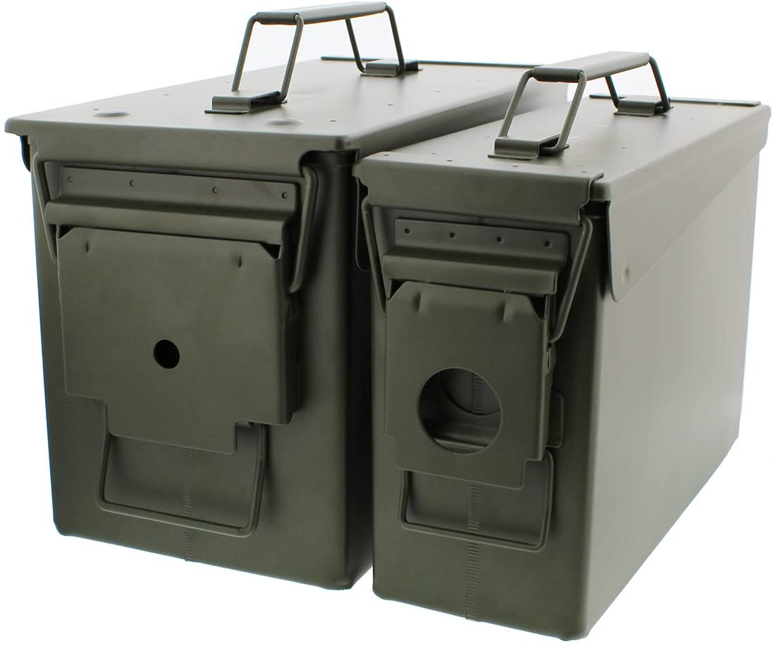 Redneck Convent 30 and 50 Cal Metal Ammo Can 2-Pack – Military Army Solid Steel Holder Box Set for Long-Term Shotgun Rifle Ammo Storage 61reCke6ksL