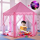 "Pink Hexagon Princess Castle Cute Indoor Kids Play Tent Outdoor Girls Playhouse with 23ft LED Star String Lights,55""(Diameter)×53""( Height)"