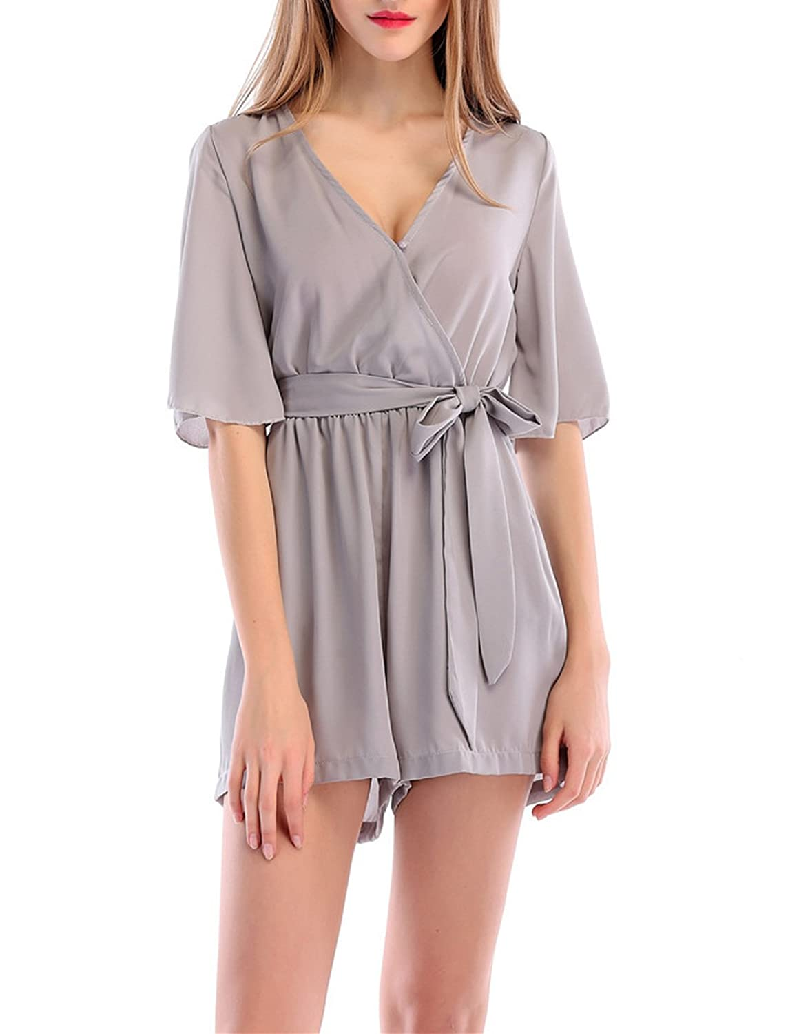 870dac6e6e71 JackenLOVE Summer Women Playsuits Loose Jumpsuits Shorts of Beach Party  with Belt Casual Solid Color Siamese Shorts Chiffon Rompers Mini Dress  Fashions V ...