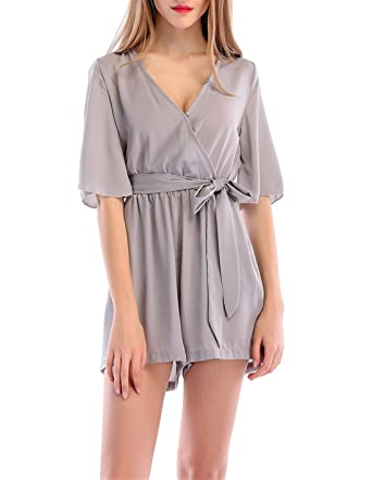 8a2ab3332b32 JackenLOVE Summer Women Playsuits Loose Jumpsuits Shorts of Beach Party  with Belt Casual Solid Color Siamese