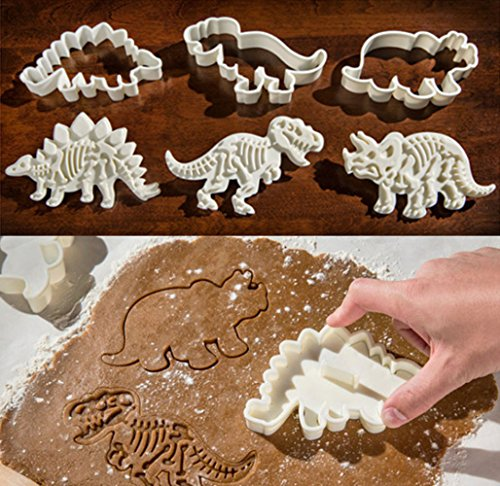 Dinosaur Cookie Cutters Stampers Emboss Fossil Bone Pattern Dinosaur Cake Topper Decoration Mold By Garloy(Pack of 3 Pairs) (Candy Embed)