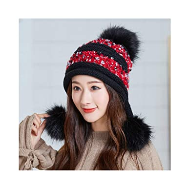 075aebe0335a95 Image Unavailable. Image not available for. Color: Black Winter Cute Warms  Wool Hats Big Pom ...