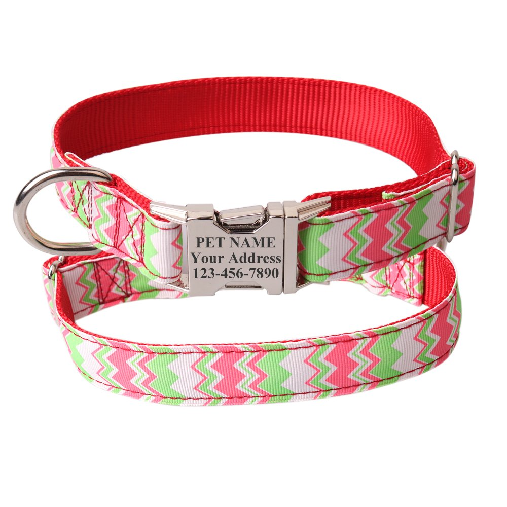 Amazon com : Sinobear Personalized Dog Collar, Custom Wavy Stripe