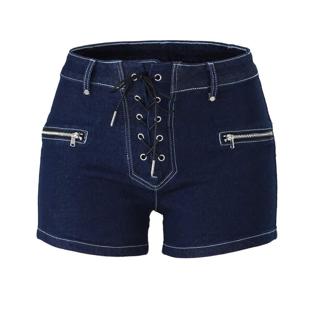 Chenout Womens Mid-Rise Jeans Skinny Knot Bandage Hot Pants Shorts Jeans Womens Zipper Denim Shorts