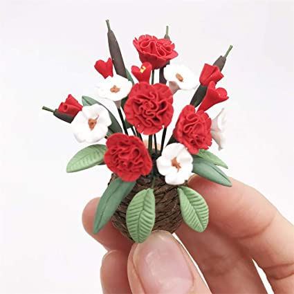 1:12 Red Colour Plant Pot Dolls House Miniature Garden Flower Accessory M Red