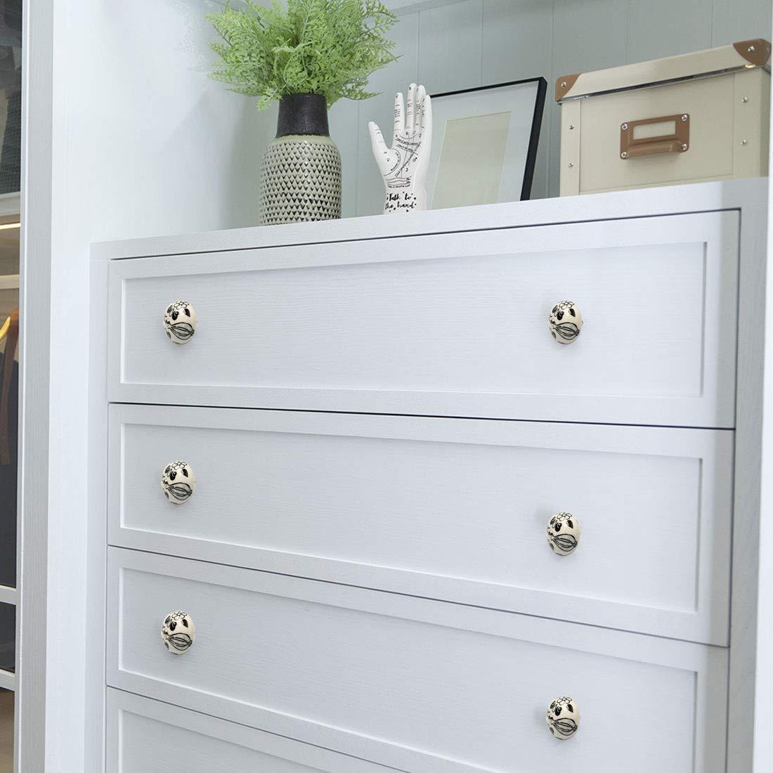 uxcell 8pcs Ceramic Knobs Vintage Knob Drawer Pull Handle Furniture Door Cabinet Cupboard Wardrobe Dresser Decoration #4