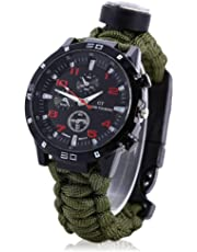 6 in 1 Survival Bracelet Watch, Multifunction Paracord Survival Watches for Hiking Camping Outdoor Activities, Compass Watch Survival Bracelet for Boys Girls Adults, Kids Birthday Party Gifts