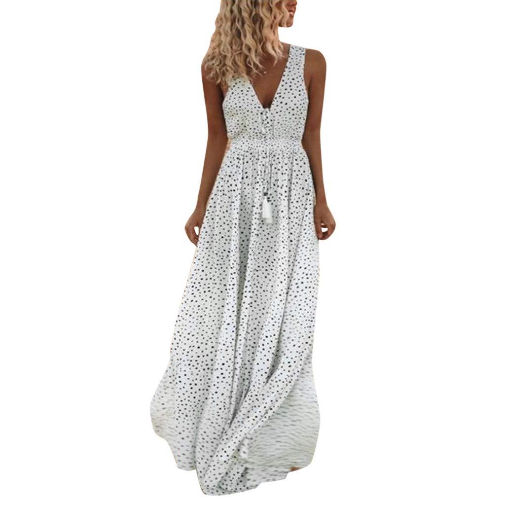 ce913cda3732 Amazon.com: kemilove Women Summer Sleeveless Dot Print Tassels Deep V Neck  Long Beach Maxi Dress: Clothing