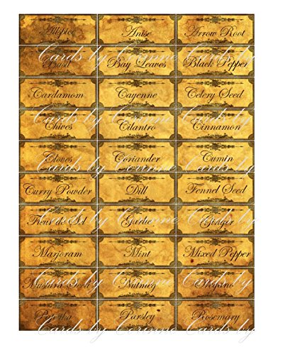Set of grunge 38 spices herbs labels stickers printed on glossy laminated paper. Can be personalized with additional spices or ()