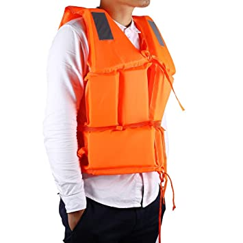 Camping & Hiking Boat Work Outdoor Drifting Adult Life-saving Vest Waterproof Adjustable Reflective Jacket Safety Vest with Life Whistle Safety & Survival