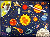 KC CUBS Playtime Collection Space Safari Road Map Educational Learning & Game Area Rug Carpet for Kids and Children Bedrooms and Playroom (5' 0'' x 6' 6'')
