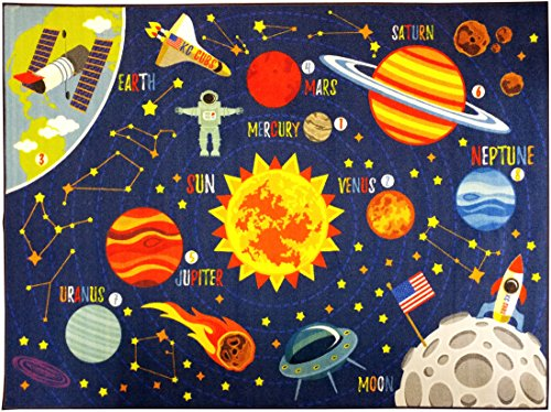 KC CUBS Playtime Collection Space Safari Road Map Educational Learning & Game Area Rug Carpet for Kids and Children Bedrooms and Playroom (5' 0