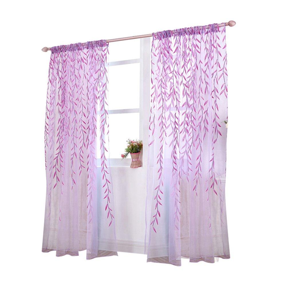 Rideau Voilage Fenêtre WINOMO Rideau Transparent avec Motif Feuilles Violet 100x270cm