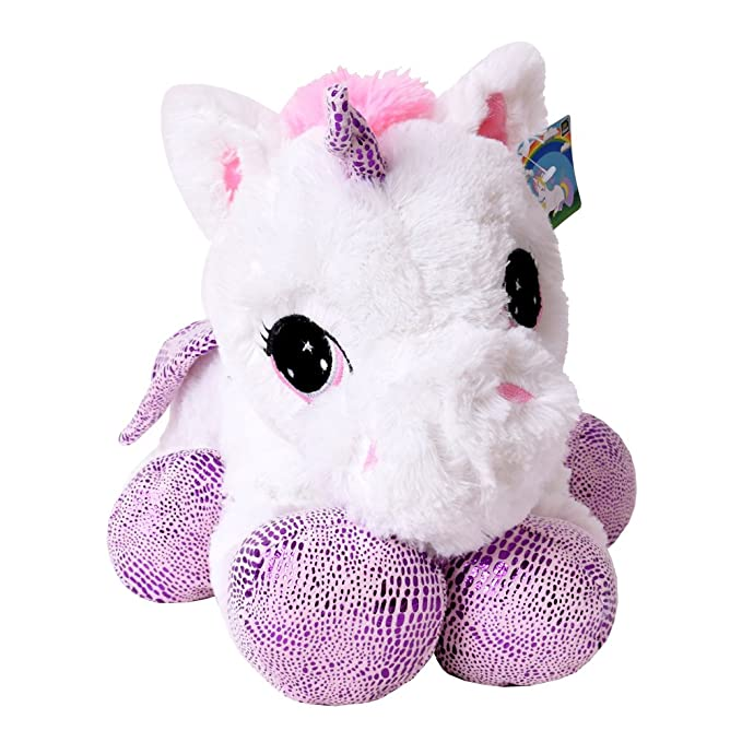 te-trend plüschpferd caballo unicornio unicorn peluche tumbado 45cm Púrpura glitzerhorn Grandes Ojos Blanco: Amazon.es: Juguetes y juegos