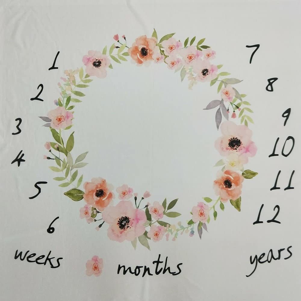 D JMITHA Fotohintergrund-Decke f/ür Babyfotos mit monatlichem Meilenstein-Druckmuster Blumenmotiv blume
