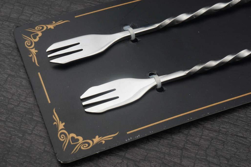 9.84 In Special Skull and fork Stirrer Swizzle Sticks Cocktail Drinks set of 2