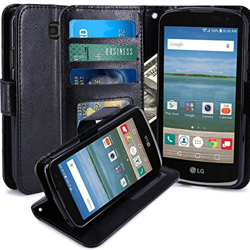 LG K4 Case, LG Spree Case, LG Optimus Zone 3 Case, LK Luxury PU Leather Wallet Case Flip Cover with Card Slots & Stand For LG K4 LTE / LG Spree / LG Optimus Zone 3, Black (Lg Phone Case Optimus compare prices)
