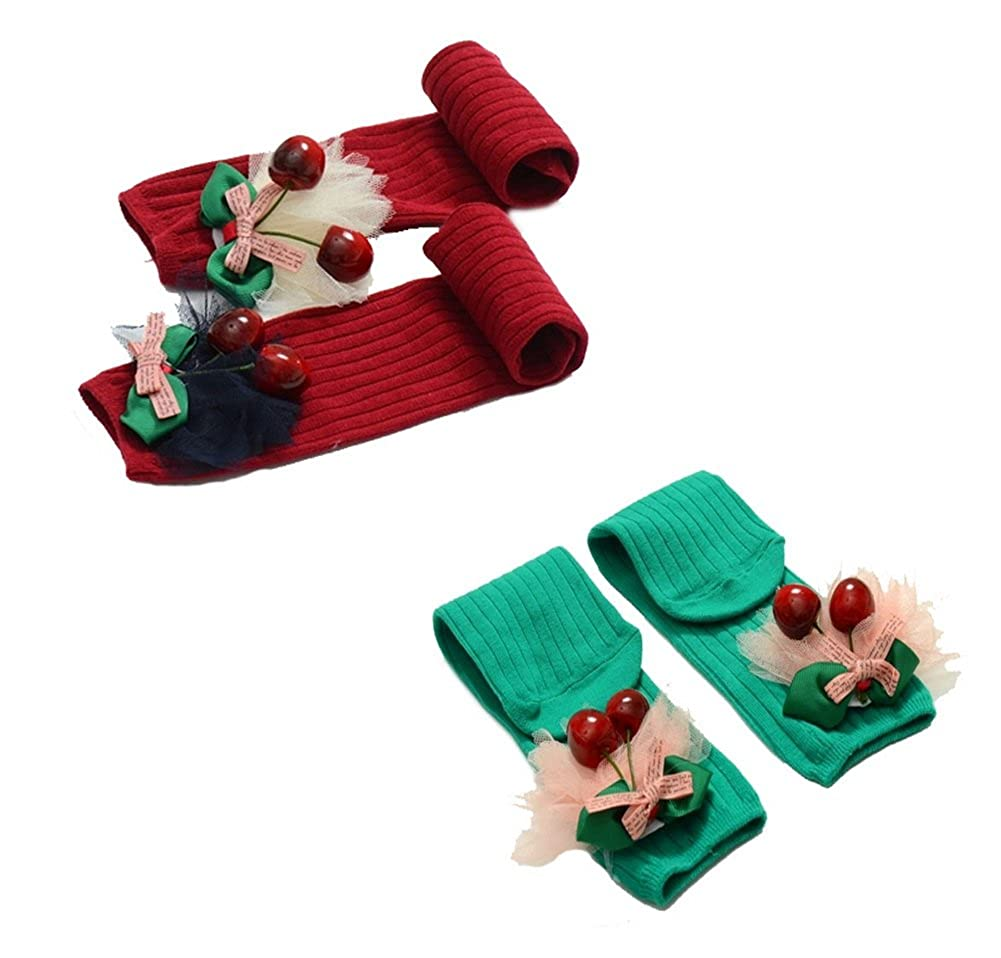 Set of 2 Red /& Green Cherry Lace Knee Length Socks for Girlss 2-8 Yrs