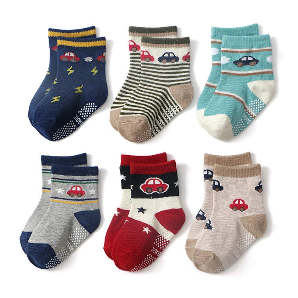 Couleur A Ceguimos 6 Paire de Chaussettes Antid/érapantes pour B/éb/és et Enfants 0-1 Ans