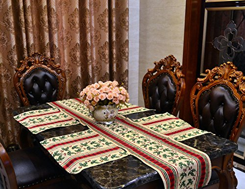 Table Runners Macrame Jacquard Burlap Cotton Cloth Table Cover with 4 Sets Placemat Coffee Table Runner for Kitchen Dining Round End Table Pub Banquet Bistro Decoration Rattan Desert Cherry Red Stripe (Dining Room Rattan End Table)