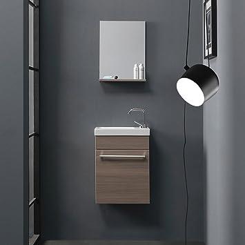 Amazon.de: KIAMAMI VALENTINA Mobile Badezimmer, Eiche Rauch, Kleine ...
