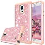 Galaxy Note 4 Case, TAURI Fashion Glitter Sparkle Bling Shiny [2 In 1] Hybrid Defender Protective Armor Case For Samsung Galaxy Note 4 - Rose Gold