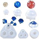 レジン型 しりこん レジン シリコンモールド 6個入 半球 球型 ダイヤ型 ダイヤモードル クリスタル