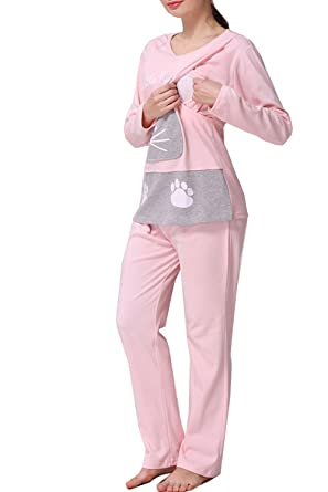 94b2b99760 Women s Cat Pattern Maternity   Nursing Sleepwear Pajamas Set Top and Pant