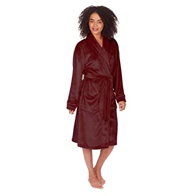 Women s Soft Flannel Fleece Robe (Sizes S-XL) Shawl Collar Plush Night Gown 51c1741d9