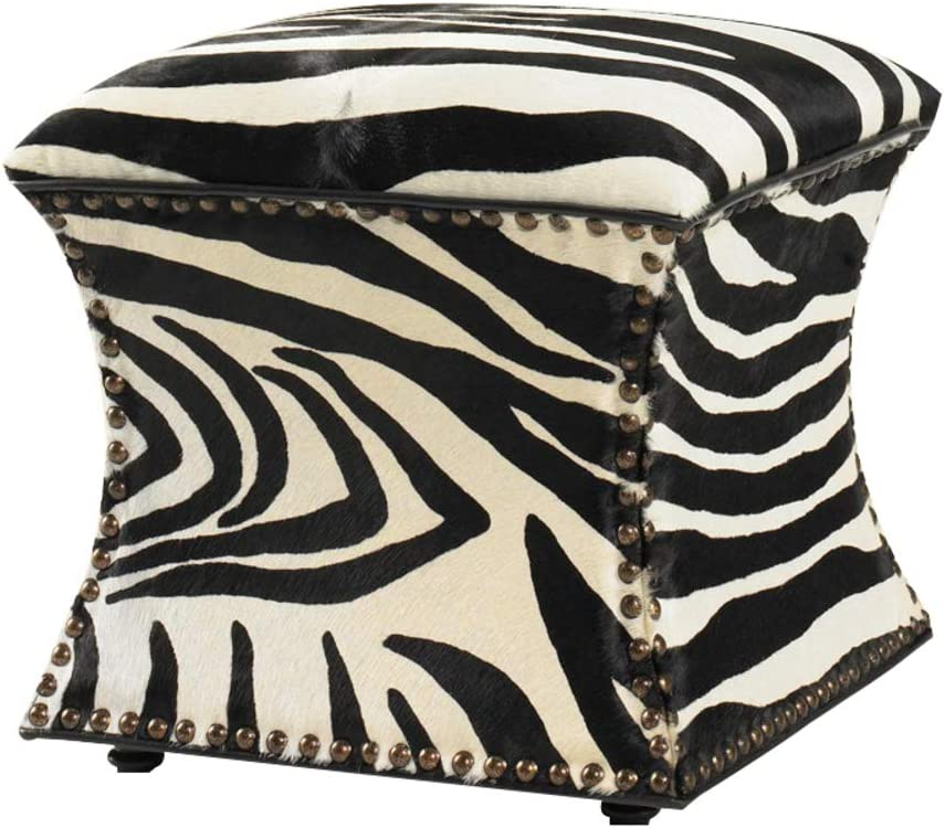 GE&YOBBY Modern Leather Ottoman,Studded Shoe Change Stool Zebra Color Vintage Footstool-A 40x40x42cm(16x16x17)