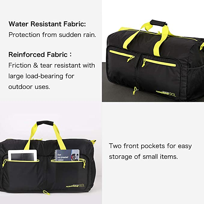 Hiking Foldable & Super Large 70L Travel Duffel Bag Sport Outdoors Uses Lightweight Packable Travel Bag for Camping Large Gym Bags for Men and Women Water Repellent & Tear Resistant