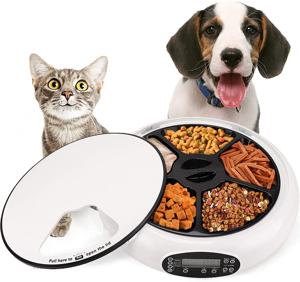 5-Meals Automatic Cat Feeder with Timer Automatic Feeder Dry Wet Food Dispenser Cats and Small Dog with Voice Reminder Programmable Timed Auto Pet Cat Dog Feeder
