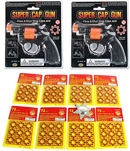 2 Shot Pistol (Toy Cap Gun: Set Of 2 Police Style 38 Super Cap 8-Shot Revolvers Bundle 8-shot Plastic Ring Capsules 86 Sheet 576 Unit Shot Included Deputy Sheriffs Badges)