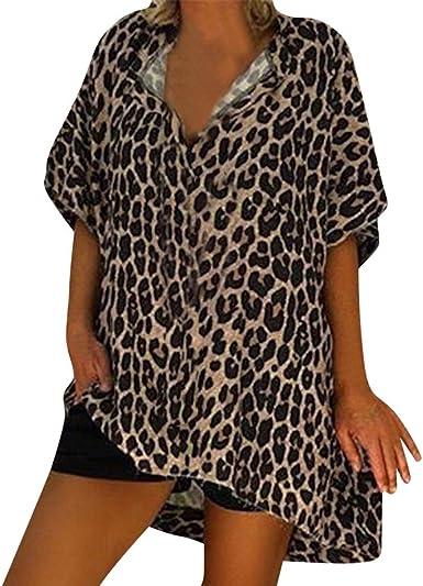 AIMEE7 Ropa Mujer Camiseta Suelta con Estampado de Leopardo Manga Corta Cuello en V, Camisa, Chaleco, Camiseta y Blusa Moda 2019 Casual Primavera y Verano para Mujeres: Amazon.es: Ropa y accesorios