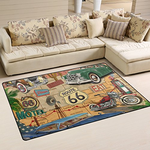WellLee Area Rug,Vintage Route 66 Floor Rug Non-slip Doormat for Living Dining Dorm Room Bedroom Decor 60x39 Inch