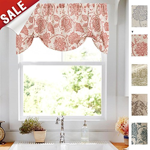 (Tie-up Valances for Windows Linen Textured Adjustable Tie Up Shade Window Curtain Rod Pocket Rustic Jacobean Floral Printed Tie-up Valance Curtains 18 Inches Long (1 Panel, Red))