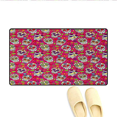 Bath Mat,Colorful Festive Skulls Leaves Motifs Pirate Cemetery Graveyard Traditional,Door Mats for Inside,Multicolor,Size:24