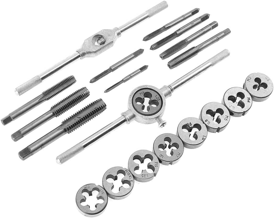 DORLIONA 20pcs Alloy Steel Tap /& Die Set with Small Tap Twisted Hand and 1//16-1//2 Inch NC Screw Thread Plugs Hand Screw Taps