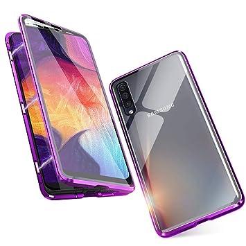 Funda para Samsung Galaxy A50 Magnetica Adsorption Carcasa [360 Grados Frente y Parte Posterior Cuerpo Completo Transparente Vidrio Templado ...