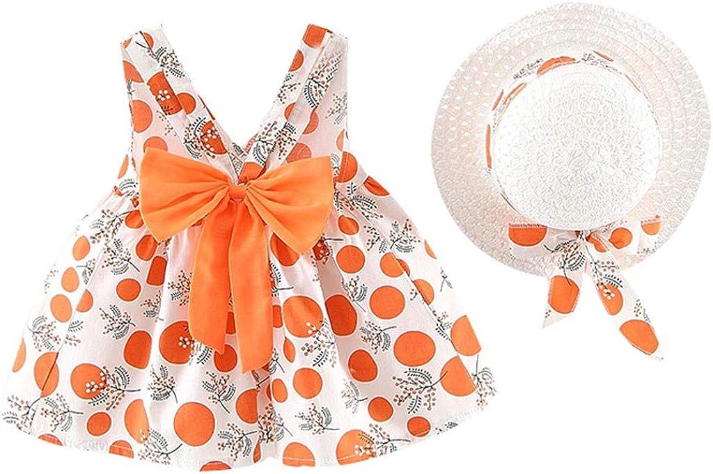 6 Mois-3 Ans Chapeau de Paille Orange sans Manches avec Bride imprim/ée /à Pois et /à Pois,BZLine