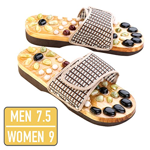 Neo Reflexology Sandals   Ultimate Therapeutic Natural Stone Reflexology Slippers   Foot Acupressure Shiatsu Massage   Non Slip And Anti Bacterial Materials   Fit 9  W  7 5  M  Feet Size   73 1
