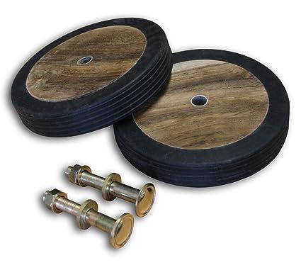 KMH®, Ruedas accesorias de auténtica madera de teca y goma (#102020)