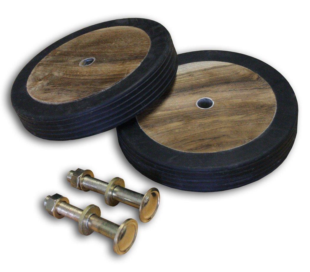 KMH®, Genuine Teak Wood Wheel Set for garden furniture (#102020)