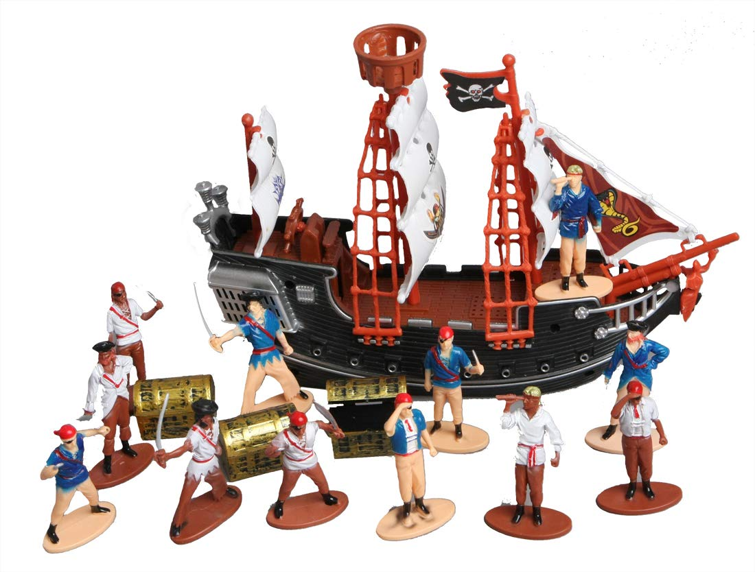 Toy Pirate Ship, Figures and Mini Treasure Chests Bundle Pack for Party Decorations or Birthday Cake Toppers by LightShine Products