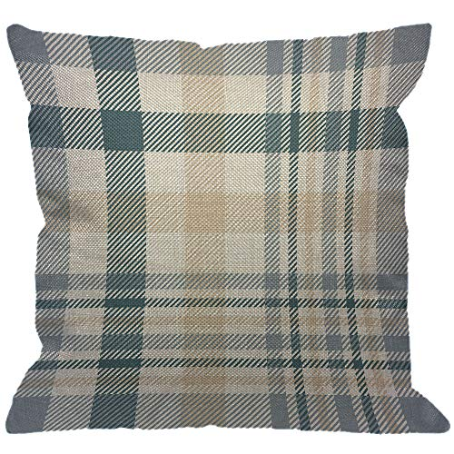 - HGOD DESIGNS Plaid Check Throw Pillow Cover,Tartan Scottish Checker in Beige White Dusty Teal Green and Grayish Blue Decorative Pillow Cases Linen Square Cushion Covers for Home Sofa Couch 18x18 inch